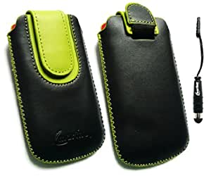 Emartbuy ® Stylus Pack Para Sony Ericsson Vivaz Negro / Verde Slide En Cuero De Primera Calidad Pu Funda / Estuche / Manga / Soporte (Medium Size) Con Mecanismo Pull Tab + Metallic Mini Negro Stylus + Protector De Pantalla