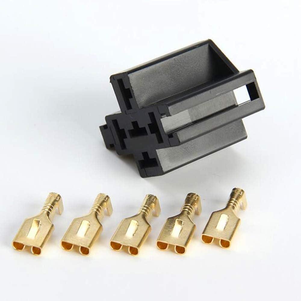 Loriver 5A 6,3mm Auto Auto 5 Pin Relaissockel Relaishalter mit 5 St/ücke Kupfer Terminal