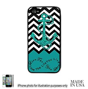 Anchor Live the Life You Love Infinity Quote - Turquoise Black White Chevron with Anchor iPhone 4 4S Hard Case - BLACK by Unique Design Gifts [MADE IN USA]