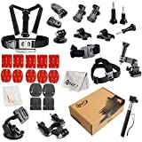 SNT Sport Action Camera Accessories for Go Pro HERO 5 4 3+ 3 2 1,SJCAM4000 SJ5000 SJ6000 AKASO DBPOWER Lightdow Extendable Handle Monopod Car Suction Cup Mount Holder Bike Handlebar Holder Mount