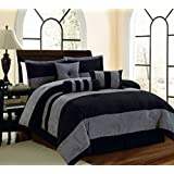 Legacy Decor 7 PC Black and Grey Micro Suede Striped Comforter Set, King Size