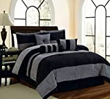 Best Legacy Decor Queen Comforter Sets - Legacy Decor 7 PC Black and Grey Micro Review