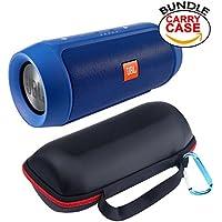 JBL Charge 2+ Splashproof Portable Bluetooth Speaker (Blue), Hard Carry Case Cover Bag Pouch & Worldwide Voltage 110V/240V AC Adapter (Bundle)