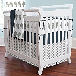 Carousel Designs White and Gray Zig Zag Mini Crib Skirt Box Pleat