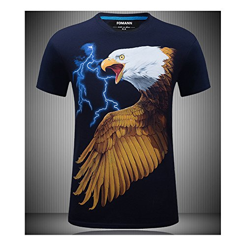 3D Eagle T-Shirt Lightening Falcon Mens Tee (L, Navy)