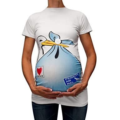 42bfec1a4 Amazon.com: FimKaul Maternity Priority AIR Mail Funny T Shirts Short ...
