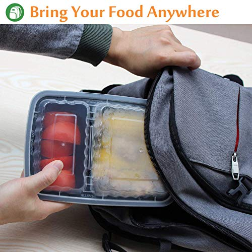 Enther Meal Prep Containers [20 Pack] 2 Compartment with Lids, Food Storage Bento Box | BPA Free | Stackable | Reusable Lunch Boxes, Microwave/Dishwasher/Freezer Safe,Portion Control (32 oz) by Enther (Image #2)