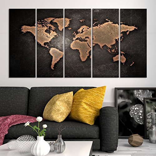Amazon 5 panel black world map canvas print brown world map 5 panel black world map canvas print brown world map wall art large world gumiabroncs Gallery