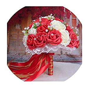 30 Rose Wedding Bouquets Handmade Bridal Flower Wedding Party Gifts Wedding Accessories Flowers Pears Beaded with Ribbon 120