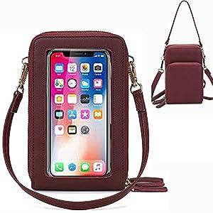 Brinny Sacs à Main Femme Sacs à bandoulière en Similicuir Étuis pour téléphone Portable 3 Pochettes à Fermeture à…