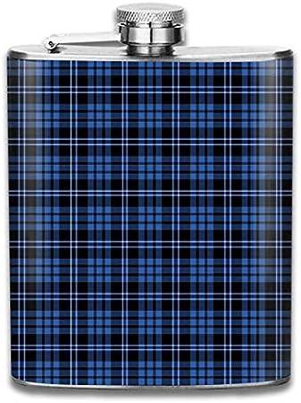 Botella de whisky portátil de acero inoxidable con diseño a cuadros azul y blanco a la moda para hombres y mujeres de 8 oz