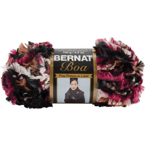 Eyelash Yarn Bernat (Bernat Boa Yarn, Black Burgundy, Single Ball)