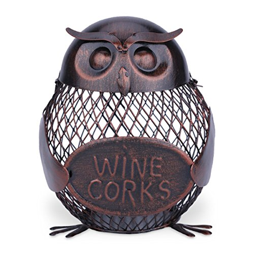 Tooarts Iron Owl Mesh Wine Bottle Holder Wine Cork Cage Container Artwork