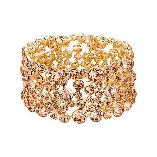 - EVER FAITH Women's Austrian Crystal Elegant Bride Fiancee Stretch Bracelet Champagne Gold-Tone