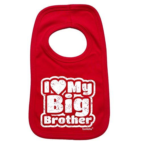 123t Baby I LOVE MY BIG BROTHER Baby Bib - Red (Big Brother Bib)