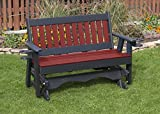 5FT-CHERRYWOOD-POLY LUMBER Mission Porch GLIDER with Cupholder arms Heavy Duty EVERLASTING PolyTuf HDPE - MADE IN USA - AMISH CRAFTED