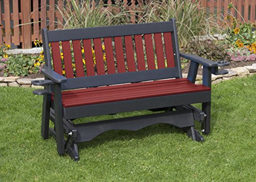 - Ecommersify Inc 5FT-Cherrywood-Poly Lumber Mission Porch Glider with Cupholder arms Heavy Duty Everlasting PolyTuf HDPE - Made in USA - Amish Crafted