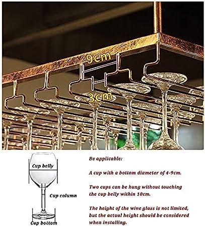 Soporte de Copa de Vino,Sostenedor del Vidrio de Vino,Cubilete Colgando,Estante de Copas de Vino Debajo del Gabinete,Colgante Sostenedor del Vidrio de Vino,120x40cm,Bar Escritorio Bar Club Cocina