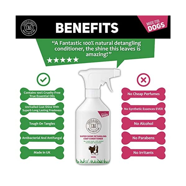 C&G Dog Detangler Spray | Cruelty Free Leave In Conditioner Spray For De Matting Dogs | Leaves Fur Tangle Free | Professional Grooming Formula (500 ML) 2