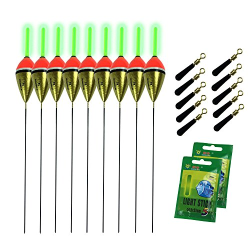 QualyQualy Balsa Wood Fishing Floats 10Pcs 1/5oz with Float Stopper and Glow Sticks Night Light Bass Carp Fishing Float Bobbers