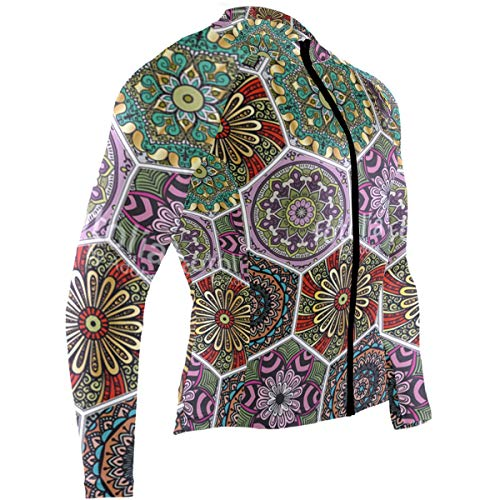 Hexagonal Boho Style Colorful Floral Mens Cycling Jersey Coat Full Sleeve Mountain Bike Skinsuits Outfit