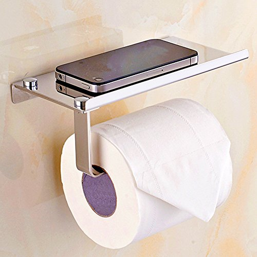 EverDesign Wall Mount Toilet Paper Holder with Mobile Phone Storage Shelf Rack - Tissue Roll Dispenser for Bathroom (Holders Mounted Brass Candle Wall)
