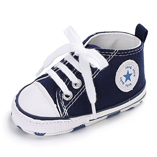 Baby Boys Girls Classic Canvas Sneaker High Top Lace Up Infant First Walker Crib Shoes(Dark Blue,12cm(6-12 months))