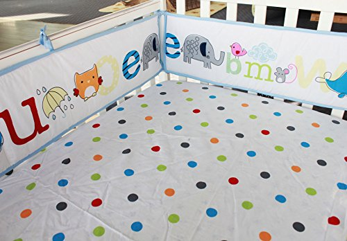 NAUGHTYBOSS Baby Bedding Set Cotton Early Education 3D Embroidery Letter Elephant Quilt Bumper Mattress Cover Blanket 8 Pieces Blue by NAUGHTYBOSS (Image #6)