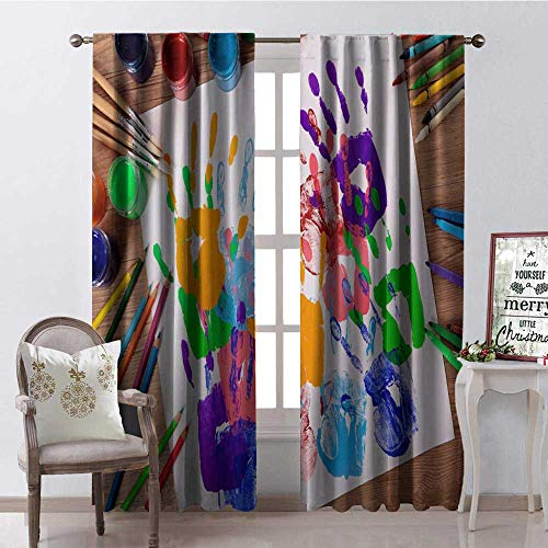 Colorful Handpr t Pa tbrush Pa t Window Curtain Fabric Drapes for Living Room W72 x L108]()