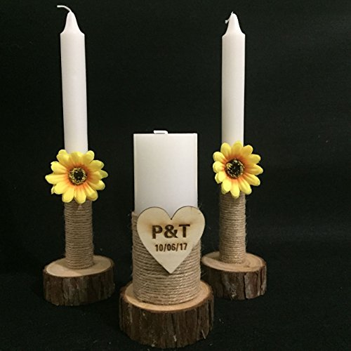 Rustic Wedding Unity Candles Set of 3, with Wood Candle Holder, Custom Wedding Candles with Sunflower, Personalized Rustic Wedding Candles 5 inches Pillar, with 10 inches Taper Candle