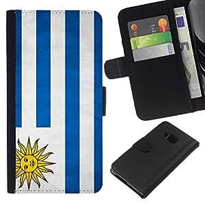 eJoy---La carpeta del tirón la caja de cuero de alta calidad de la PU Caso protector - HTC One M7 - --Uruguay Grunge Flag