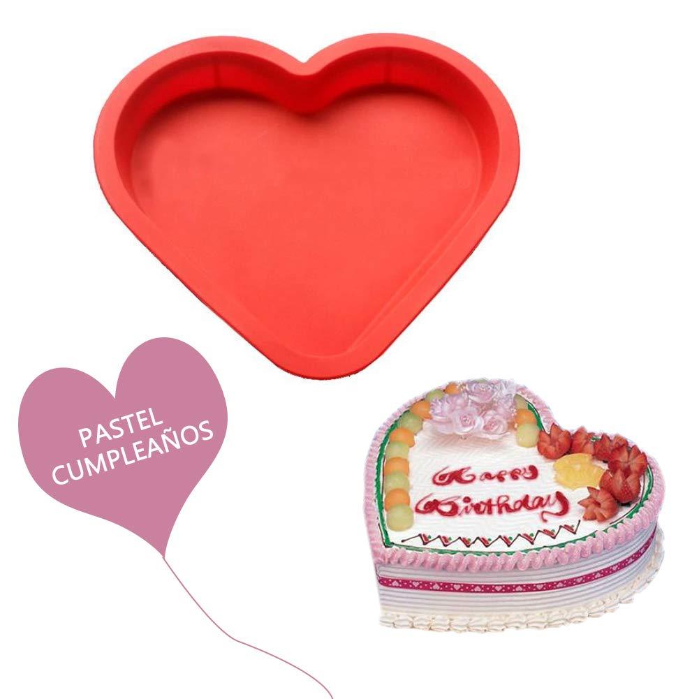 Cupcinu Molde de silicona con forma de corazón para repostería Molde de pizza Molde de pan Molde de bola de arroz Molde creativo del corazón