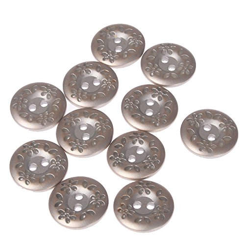 Metal Buttons Flower (ABS Metal Plated Button 2 Hole Engraved Flower and Leaf Design on Rim Silver Brass 28 Line (10pc))