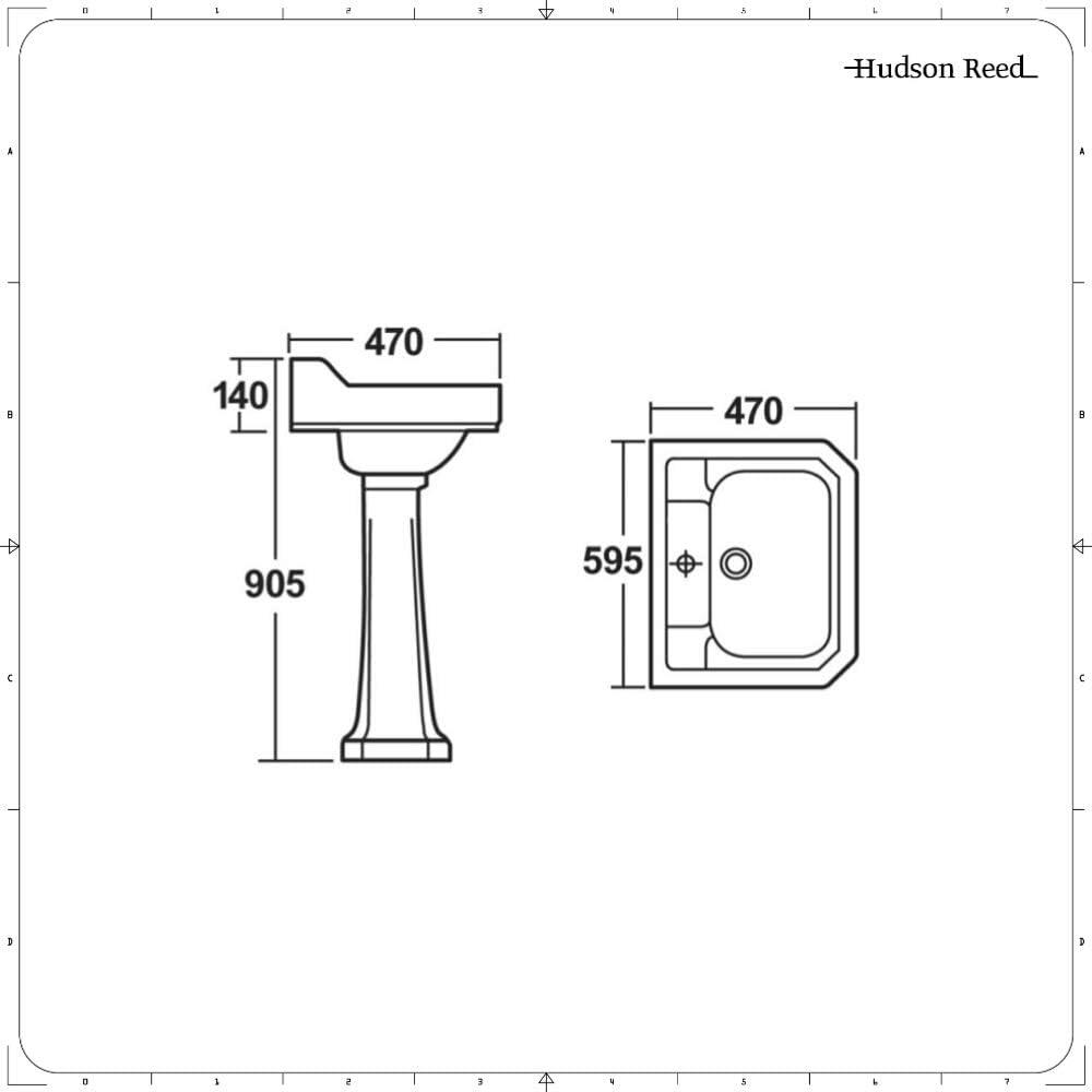 Hudson Reed Per/çage 2 Trous Lavabo R/étro sur Colonne H91cm x P47cm x L60cm