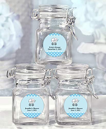 (All Things Weddings Baby Shower Party Favor, Personalized Glass Favor Jars with Lid, Baby Carriage Design, Set of 25, Blue)