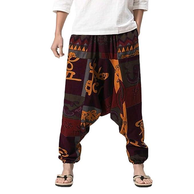 c2070f474e FarJing Pants Clearance Sale Men's Boys Harem Pants Cotton Linen ...