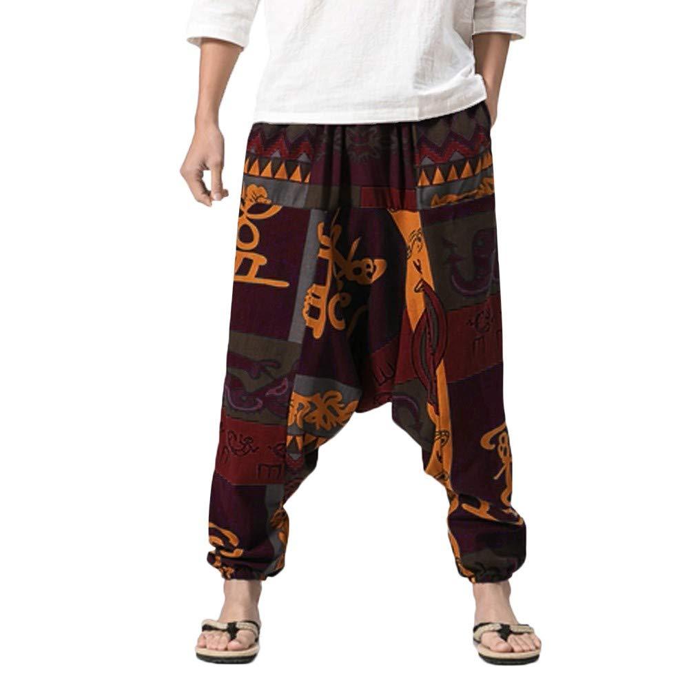 Clearance! Teresamoon Men's Harem Pants Cotton Linen Festival Baggy Boho Trousers Retro Gypsy Pants