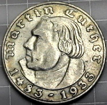 - 1933 DE Germany 2 Reichsmark Silver 2 Reichsmark VG+