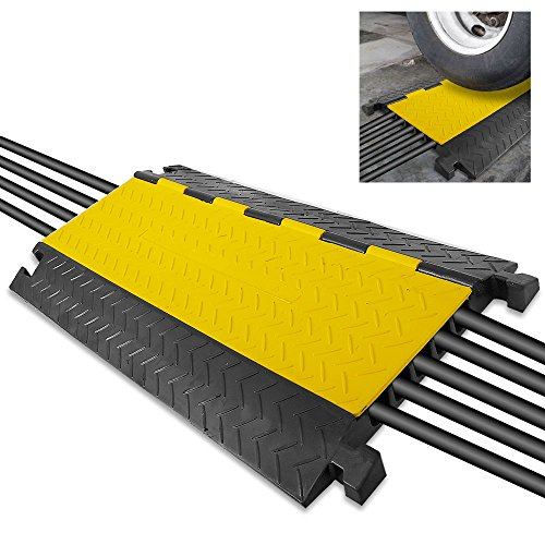 Durable Cable Protective Ramp Cover - Supports 33000lbs Five Channel Heavy Duty Cord Protection w/Flip-Open Top Cover, 31.5
