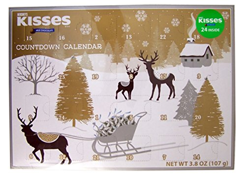 2017 Hershey's Kisses Milk Chocolate Christmas Advent Countdown Calendar with Candy, 3.8 oz