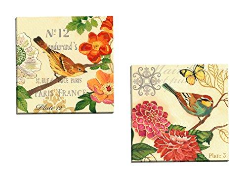 Print Poppy Framed Set - Portfolio Canvas Decor Bird Garden Poppy by Jennifer Brinley Wall Art (Set of 2), 16 x 16