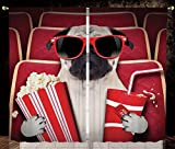 2 Panel Set Thermal Insulated Blackout Window Curtain,Pug Funny Dog Watching Movie Popcorn Soft Drink and Glasses Animal Photograph Print Red Cream Ruby,for Bedroom Living Room Dorm Kitchen Cafe