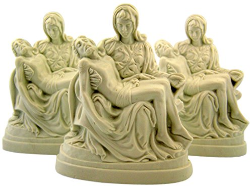 The Pieta Virgin Mary with Jesus Moulded White Plastic Fi...