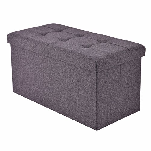 allgoodsdelight365 Folding Rect Ottoman Bench Storage Stool Box Footrest Furniture Decor Dark Gray Bonus free ebook ()