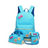 Becoler Schoolbag Small Fresh Wave Point Three-piece Suit, Children's Backpack Waterproof?Kids Book Bag School Backpack Handbag Purse Girls