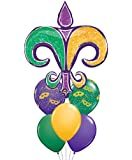 Mardi Gras Holographic Fleur de Lis Mylar Balloon Mini Bouqeut