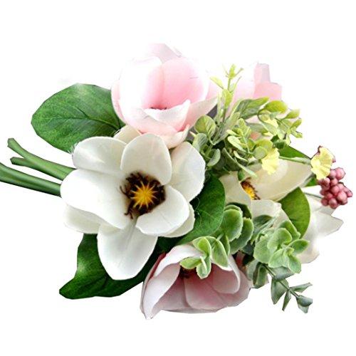 Artificial Flower! Ecosin® Wedding Home Magnolia Silk 6 Flower Heads Camellia Magnolia Daisy Bouquet Room Decor (White)