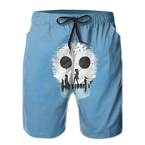 Creative Water Bird Balloon Couple Skull Men's Colorful Beach Shorts Swim Trunks by notebepisse