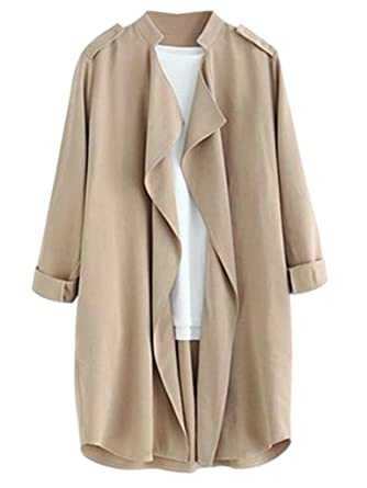 Amazon.com: Joeoy Women's Elegant Open Front Waterfall Trench Coat ...