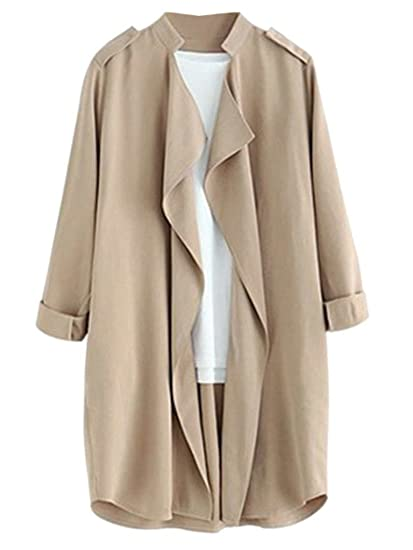 Amazon.com  Joeoy Women s Elegant Open Front Waterfall Trench Coat Cardigan  Style-1-Beige Medium  Clothing 9fdad4893f